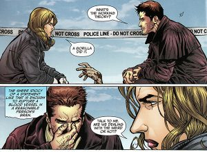 Image from graphic novel page featuring Harry Dresden and Lieutenant Karrin Murphy - Welcome to the Jungle by Jim Butcher